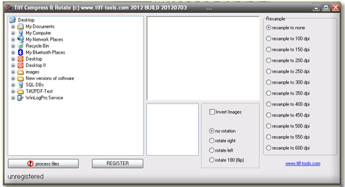 Tiff image compressor and rotation utility